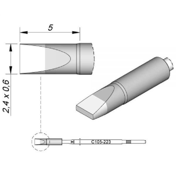 JBC Lötspitze - C105223 2,4x0,6mm Meißelform